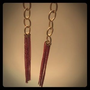 Gold and red dangling earrings